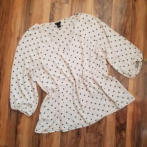 Torrid Polka Dot 3/4 Sleeve Blouse Top Plus 1